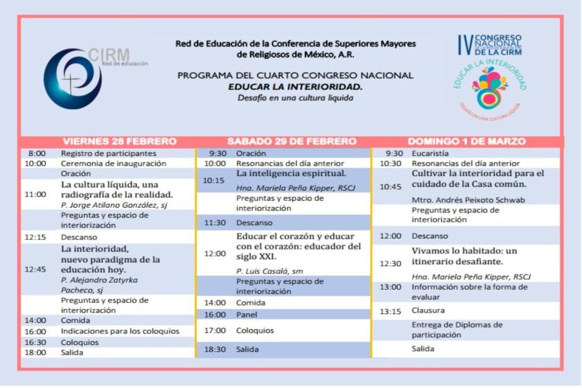Programa del IV Congreso Nacional de la Red de Educación de la CIRM